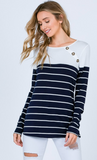 Basic Beauty Button Top, Navy