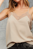Lovely In Lace Tank, Taupe