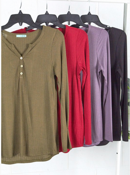 My Favorite Henley Top (multiple colors)