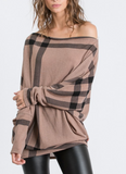 Classic Style Off Shoulder Plaid Knit Top