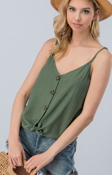 Summer Fun Button Tank, Olive