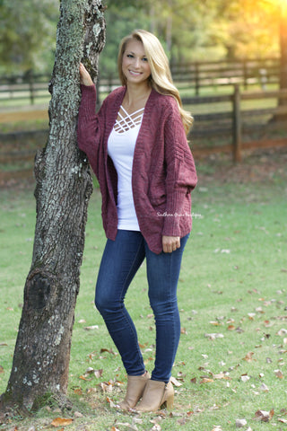 Wrapped In Comfort Cardigan - Marsala