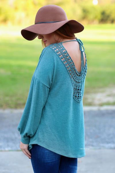 Falling For Details Lightweight Sweater, Teal FINAL SALE ITEM!