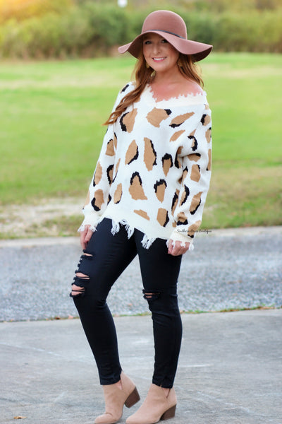 Going For Cozy Leopard Frayed Sweater