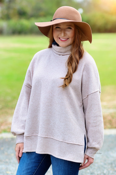 Comfort Days Turtleneck Thermal Top, Taupe