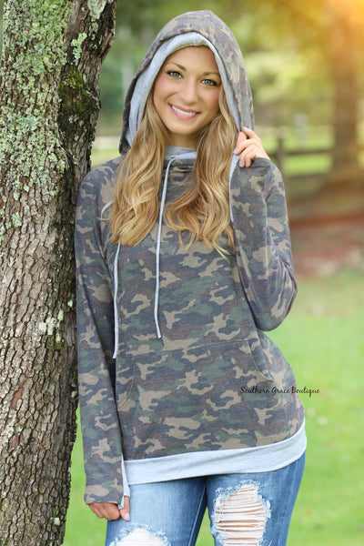 Keep It Confidential Camo Pullover
