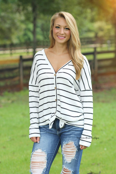 Tied To You Top - Striped FINAL SALE ITEM!