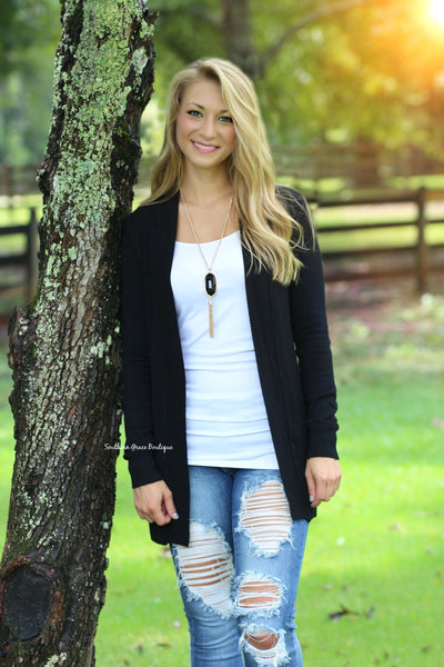 Basic Girl Cardigan - Black
