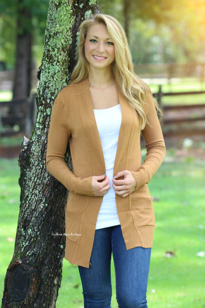Basic Girl Cardigan - Camel