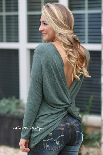 Twisted Back Beauty Sweater - Olive