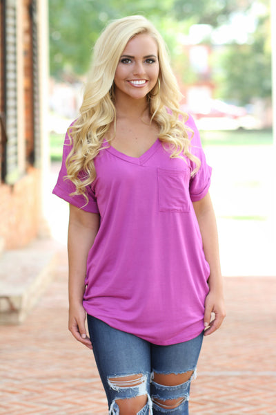 Basic Girl Pocket Top, Magenta