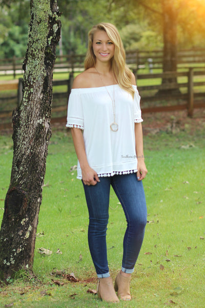 Pom Pom Perfection Off The Shoulder Top, Ivory