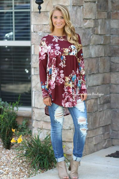 Falling For Floral Tunic - Burgundy