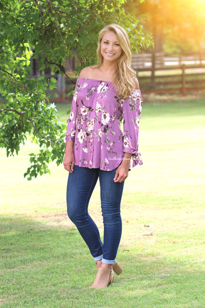 Precious Petals Off Shoulder Top, Mauve