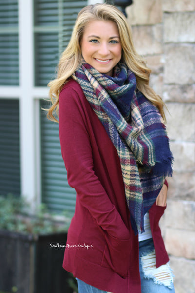 Basic Girl Cardigan - Deep burgundy