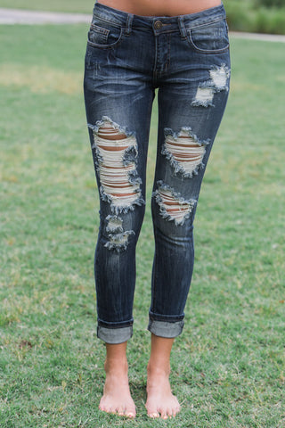 Moving Forward Cropped Machine Jeans