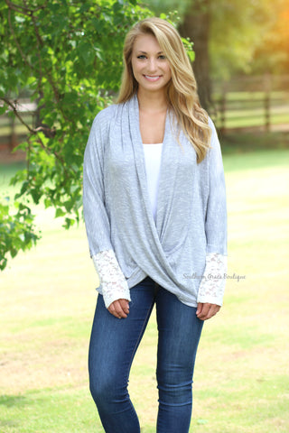 Crossover Into Fall Knit Top - Grey