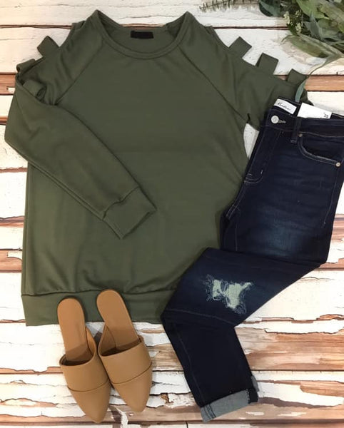 Cutout Cutie Knit Top, Olive