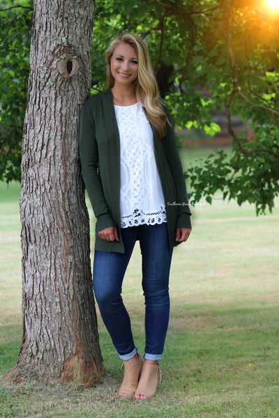 Basic Girl Cardigan, Dark Olive