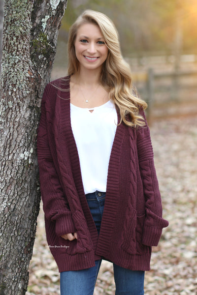 Cozy Cable Knit Cardigan - Burgundy
