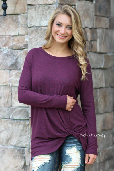 She's Twisted Knit Top - Burgundy
