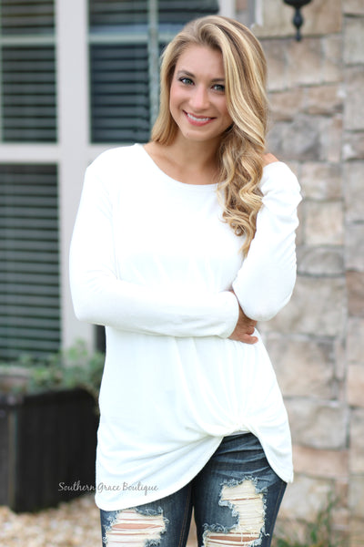 She's Twisted Knit Top - Ivory