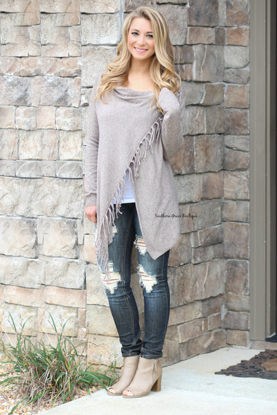 Follow The Fringe Sweater Cardigan - Mocha