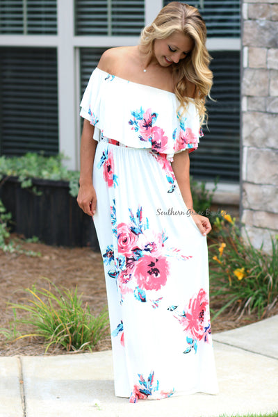 Love Me In Floral Maxi Dress - Ivory