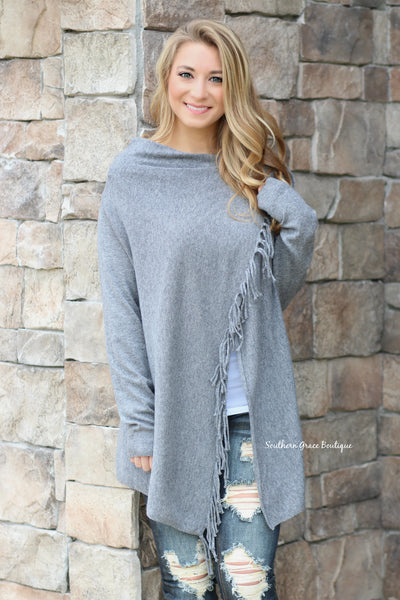 Follow The Fringe Sweater Cardigan - Charcoal