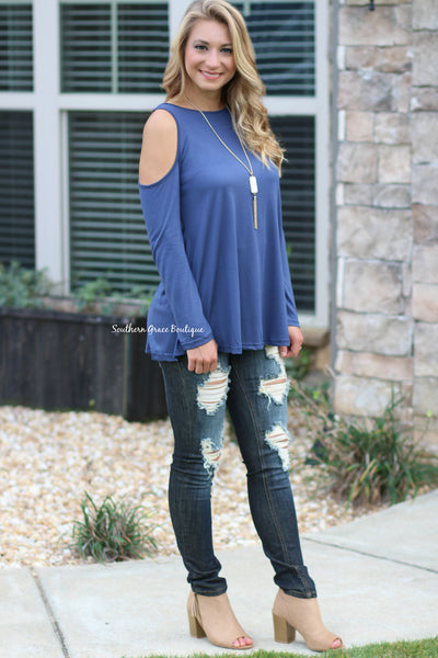 Perfect Cold Shoulder Top - Blue