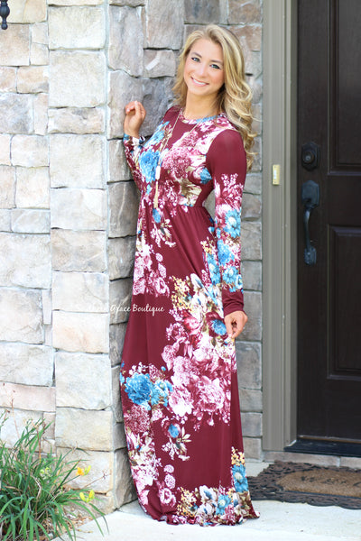 Falling For Floral Maxi Dress - Burgundy