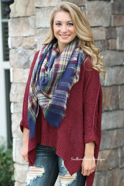 Cozy Oversized Sweater Days - Burgundy