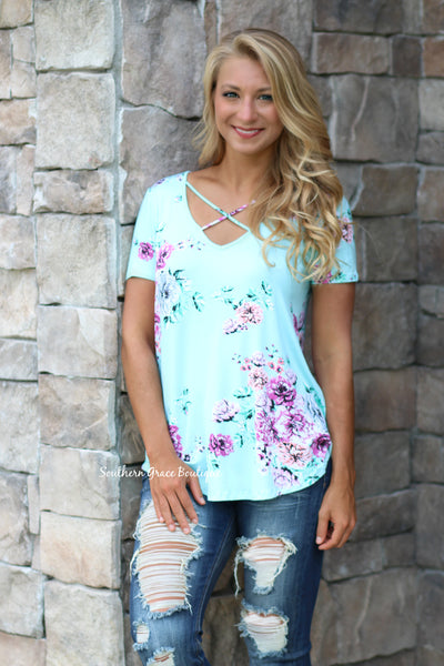 Crossing Over To Floral Top - Mint