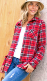 Happy Hikes Plaid Lined Top, Red