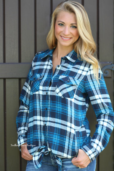 She's Gone Country Flannel Tunic - Teal