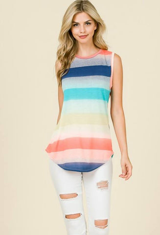 Sun Fun Striped Tunic Tank