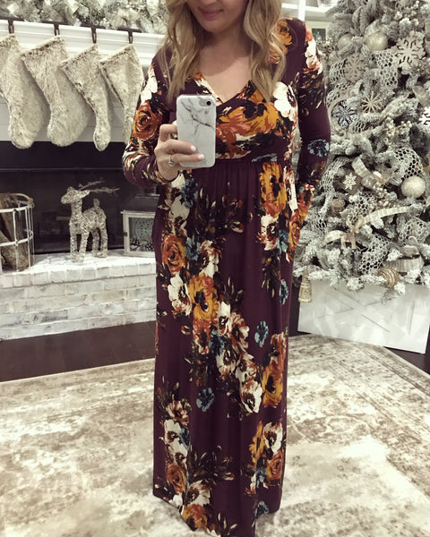 All Seasons Maxi Dress, Burgundy - In stock