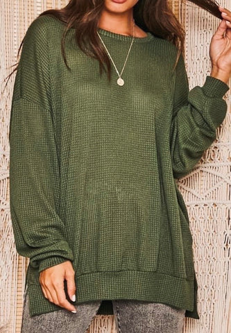 That's Life Waffle Tunic, Olive PREORDER