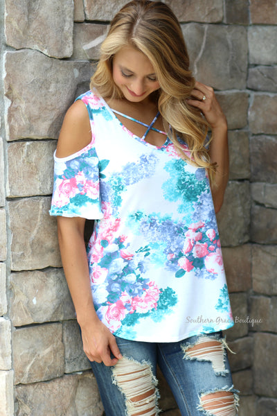 Flirty In Floral Cold Shoulder Top - White