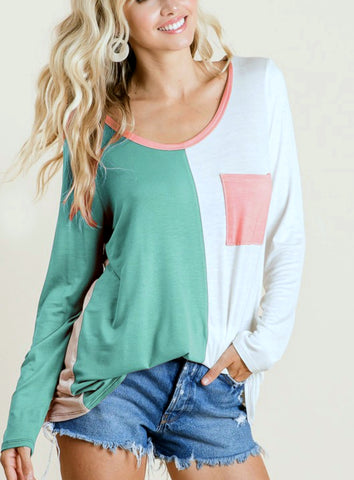 Something About You Colorblock Top, Jade FINAL SALE ITEM!