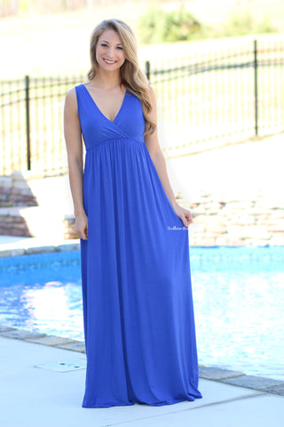 Lovely You Lace Maxi Dress, Royal Blue