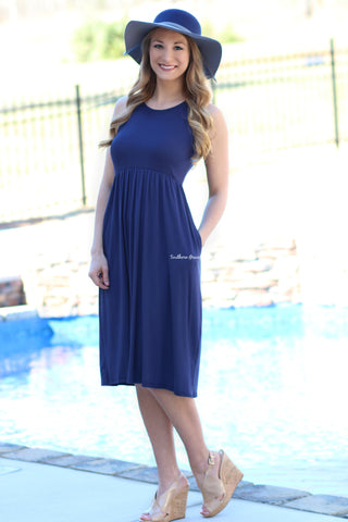 Picnic Date Midi Dress- Navy