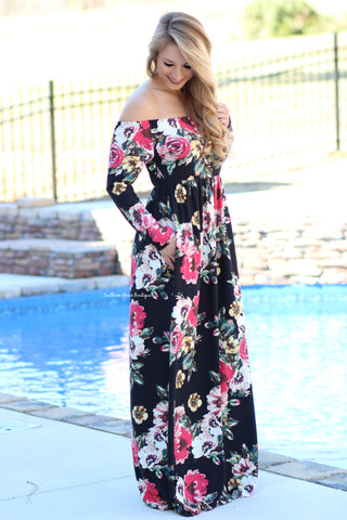 Influenced By Florals Maxi Dress, Black