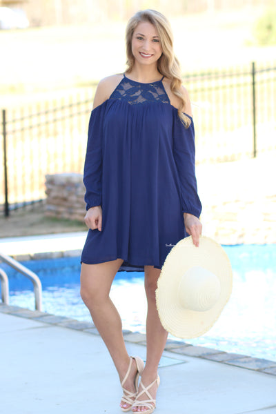 Ode To Beauty Cold-Shoulder Dress, Navy