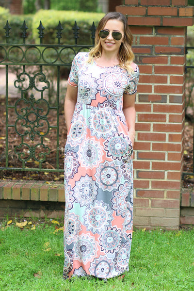 A Burst of Medallion Maxi Dress