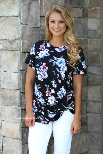 A Twist of Floral Top - Black