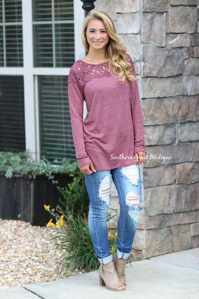 The Lace Detail Tunic - Wine