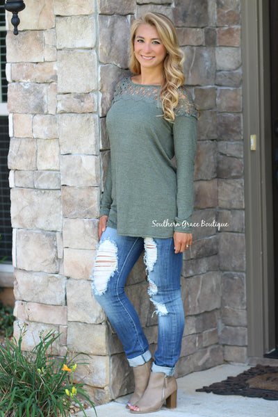 The Lace Detail Tunic - Olive