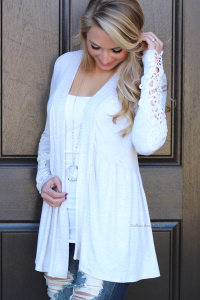 Open To Crochet Cardigan - Heathered Oatmeal