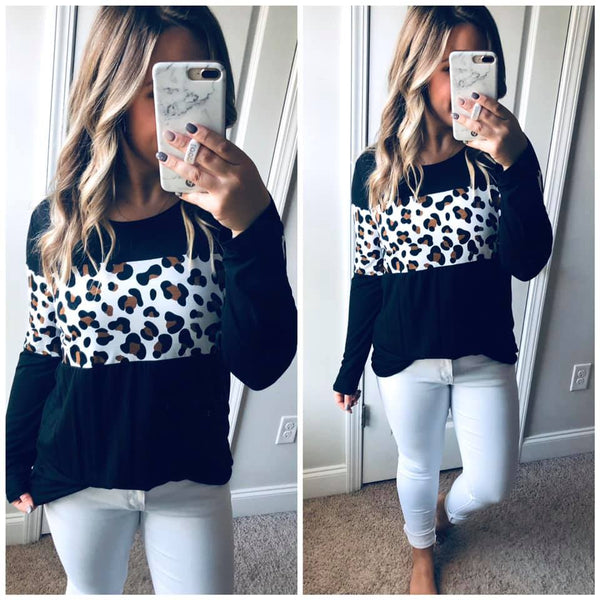 A Touch of Leopard Print Top, Black